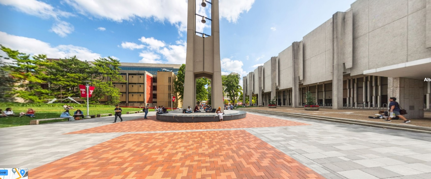 A panoramic image of Pollett Walk and the bell tower on Main Campus
