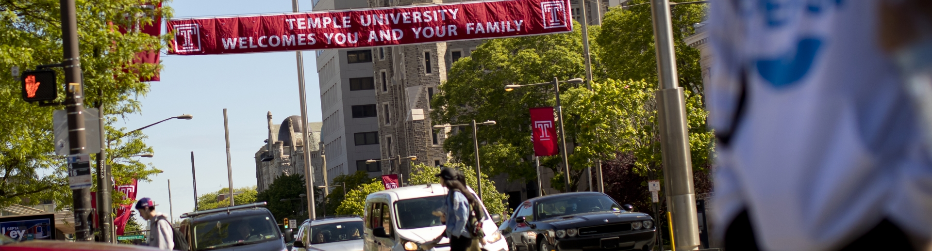 Temple University welcome banner stretched over Broad Street in Philadelphia.