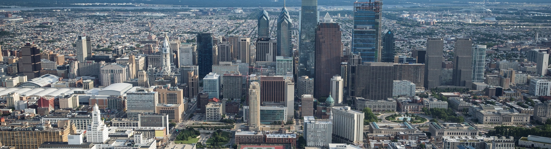 Philadelphia center city skyline aerial view.