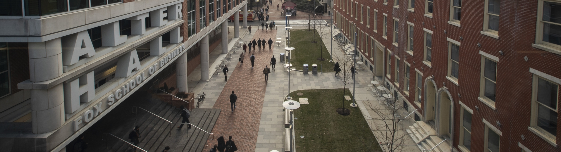 View of Alter Hall and Polett Walk at Temple University Main Campus.