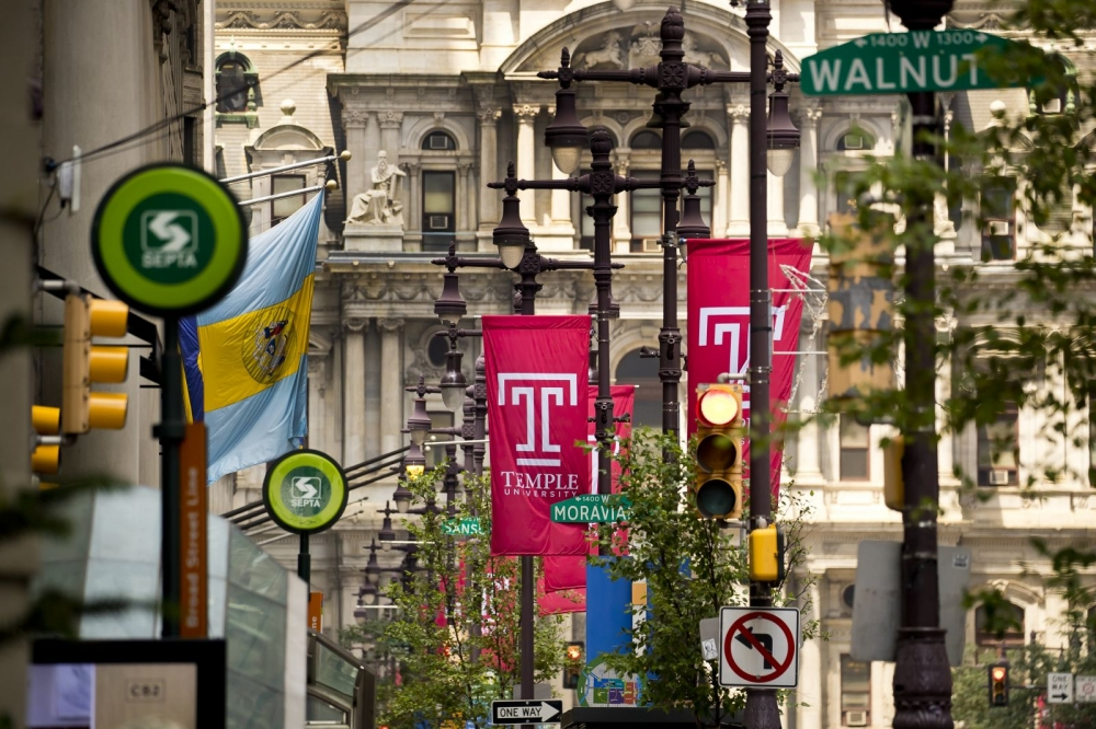 Temple University banners hanging in Center City Philadelphia.